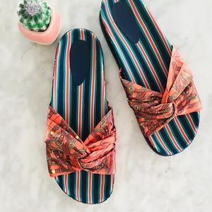 ZARA Slide Satin Blue Paisley Orange 40